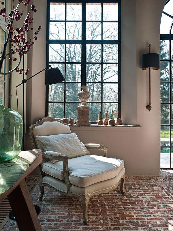 ~Lovely retreat. Belgian. metal window with deep sill. Like objects on widow sill.