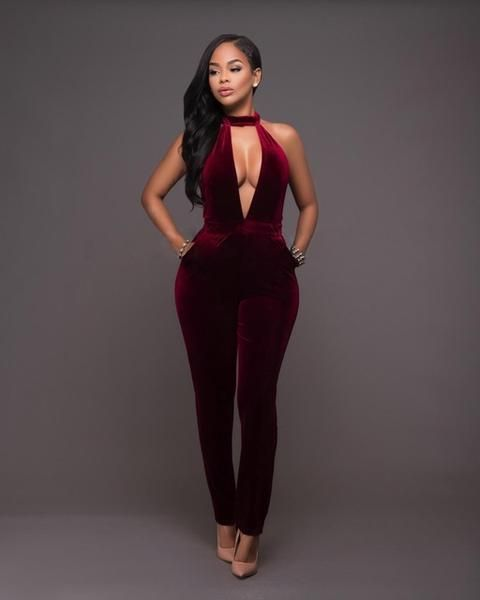 d6b8ba63186d Sexy Deep V Neck Velvet Jumpsuits for Women Skinny Halter Rompers! jumpsuits    rompers