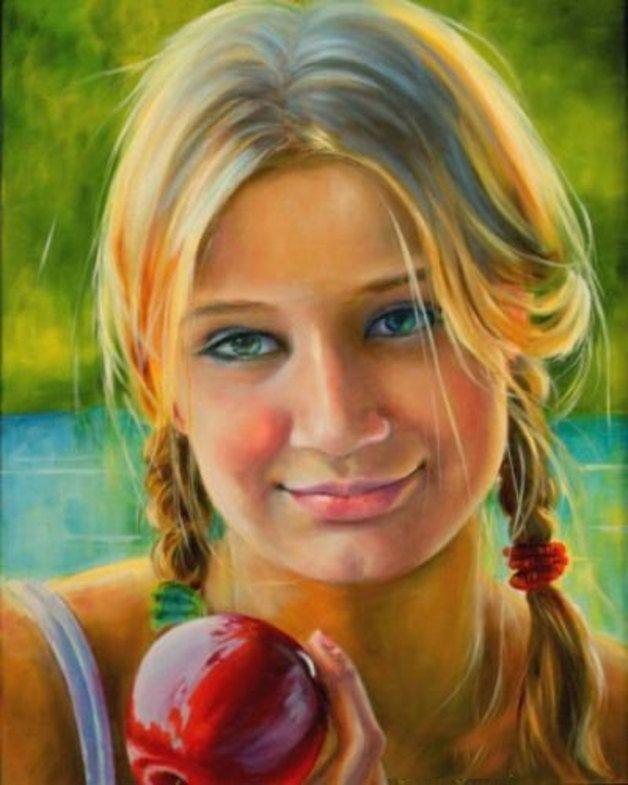 Children Oil painting,custom oil portrait painting,family portrait,wedding portrait,pet portrait,custom your own oil portrait in any size  225.00 €   In this oil painting I captured the light on the girl...