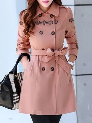 Women' Casual Lapel Long Sleeve Blended Trench-coat - stylishplus.com