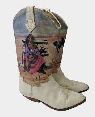 Vintage Seychelles Ladies Cowboy Boots 7 Navajo Woman Horse Print Western