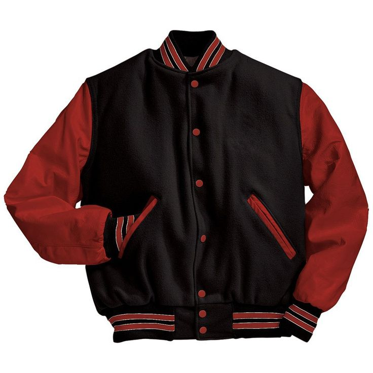 Black and Scarlet Red Varsity Letterman Jacket Black and Light Gold Varsity Letterman Jacket from Mount Olympus Awards.  Genuine leather sleeves and trim with premium melton wool body.  Typically ships in 24 to 48 hours unless customized with embroidery or letterman jacket patches such as a varsity letter.
