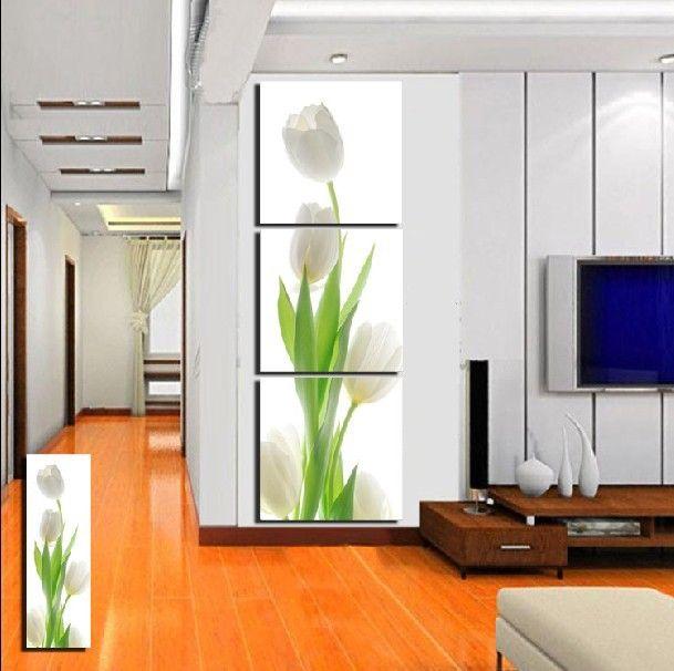 3 Panel Hot venta pared moderna de la pintura decorativa casera de bellas artes en la lona impresiones el encantador tulipán blanco
