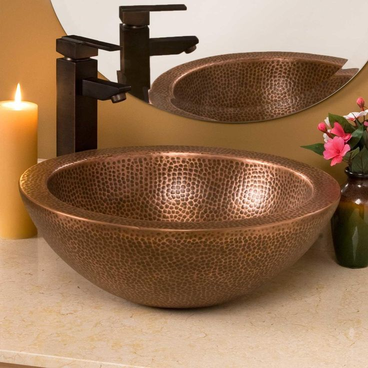 "16"" Casalina Double-Wall Hammered Copper Vessel Sink"