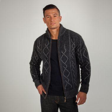 Koru Merino - Possum Plated Cable Zip Men's Jacket