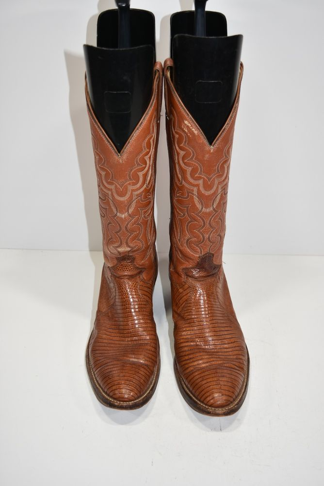 watch a262b 453dd JUSTIN VINTAGE MENS 8.5 D EXOTIC TEJU LIZARD LEATHER WESTERN COWBOY BOOTS  ROPERS   Men s Shoes. Clothing, Shoes and Accessories   Pinterest    Clothes, ...