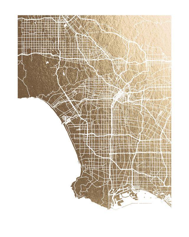 Los Angeles Map Foil pressed Art Print