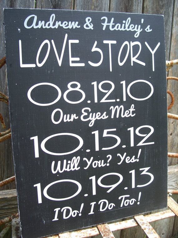 LOVE STORY Date Sign, Wedding Date sign,  Bridal Shower Gift , Engagement gift, New Couple gift, Special Dates on Etsy, $39.95