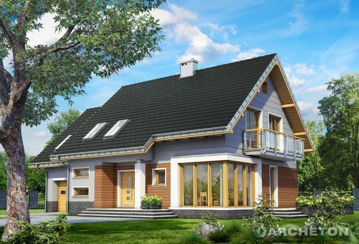 Projekt domu Bruno - atrakcyjny dom z przeszkloną jadalnią, z przestronnym tarasem od strony ogrodu