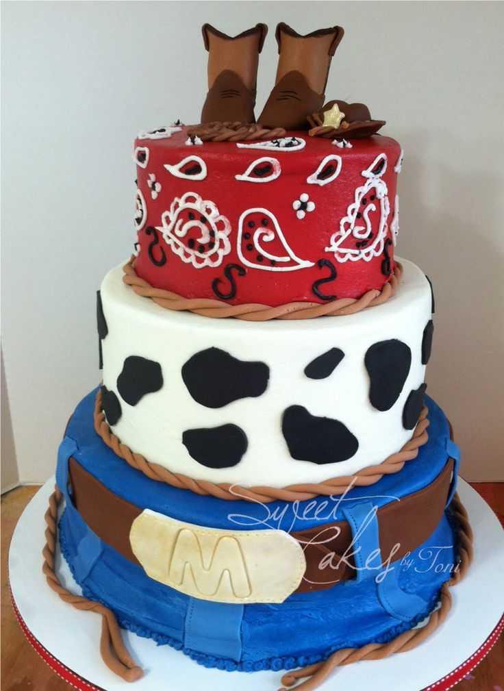 baby shower 3 tier western baby shower cake