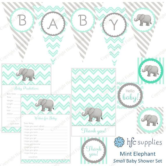 Elephant Baby Shower Set - Mint colour scheme printable party package by hfcSupplies