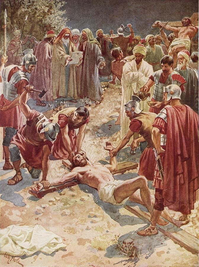 Jesus Being Crucified Painting by William Brassey Hole