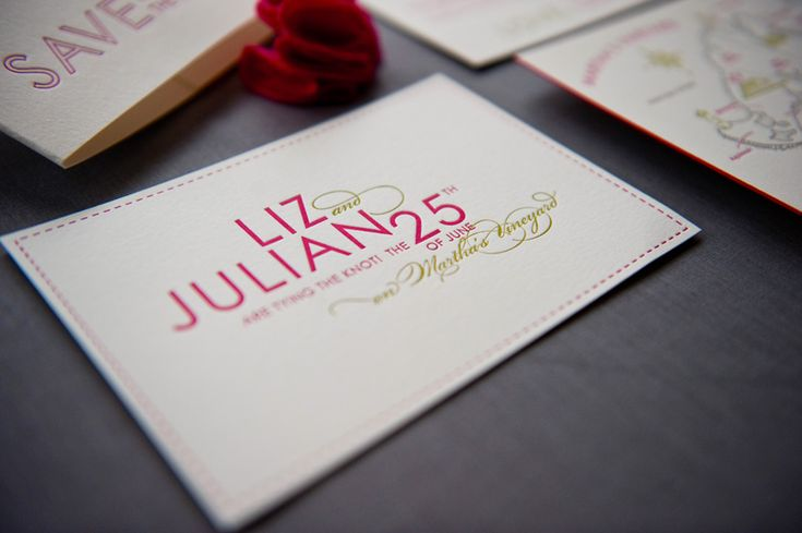 Save the Date Ideas: Colorful Hot Pink Destination Wedding Save the Dates with Map by Gus & Ruby Letterpress via Oh So Beautiful Paper