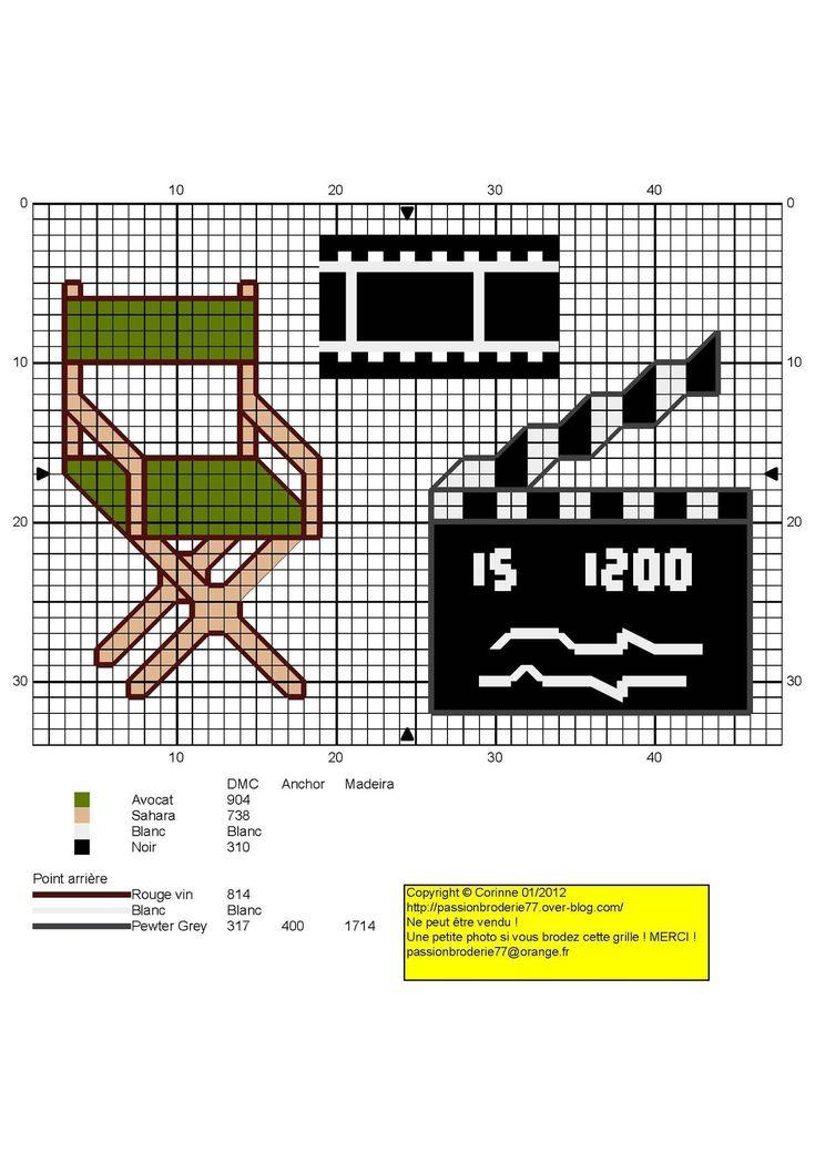 Loisirs - leisure - cinéma - point de croix - cross stitch - Blog : http://broderiemimie44.canalblog.com/
