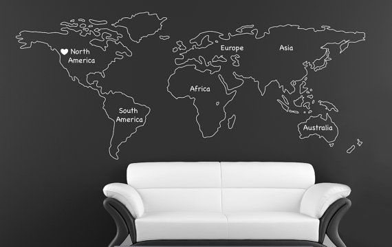 Outlined World map decal with Continents Vinyl Wall Sticker Decals Home Decor wall Decals Stick on Wall Art by - Outlined World Map SD 090