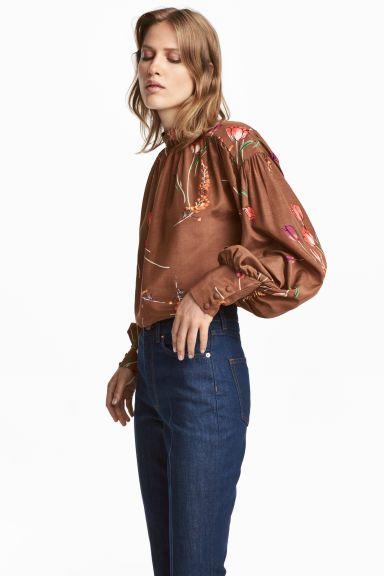 Blusa con mangas globo - Marrón/Tulipanes - MUJER | H&M ES