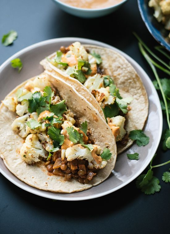 Cauliflower tacos with chipotle sauce - cookieandkate.com (Use chipotle cashew cream for vegan)
