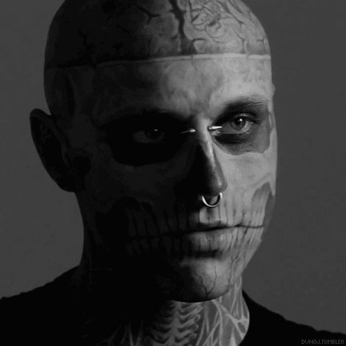 """Everybody has their own opinion and own ideas of what beauty is.""  Rick Genest aka: Zombie Boy ---- A beautiful person inside and out! (Click on pic to view animated gif images)"