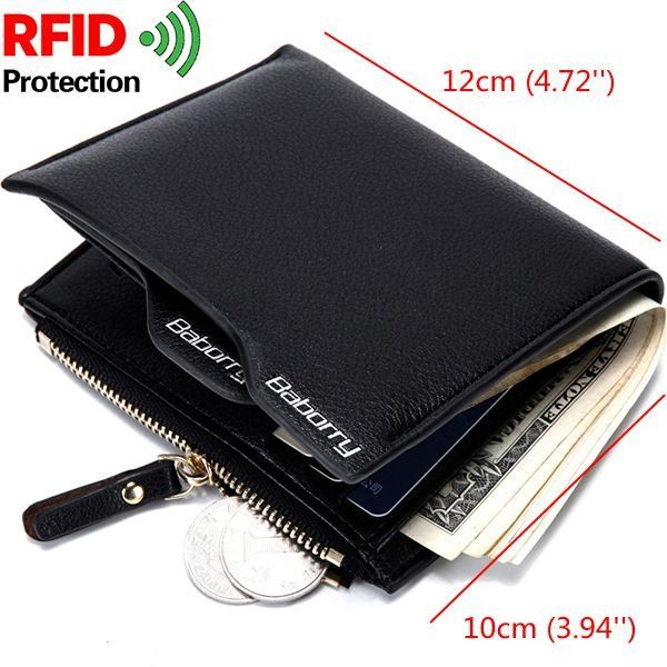 RFID Antimagnetic 6 Card Holders Wallet Business PU Leather Coin Bag For Men