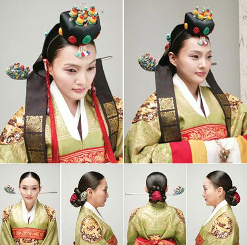 "Traditional Hairstyles for Modern Beauties * Modern Interpretation: The bride's hair is pulled back into a chignon, and a toque decorated with corals and beads sits on the crown of the head. Worn along with the hairdo is the ""nogwonsam,"" or green, decorative ceremonial topcoat."