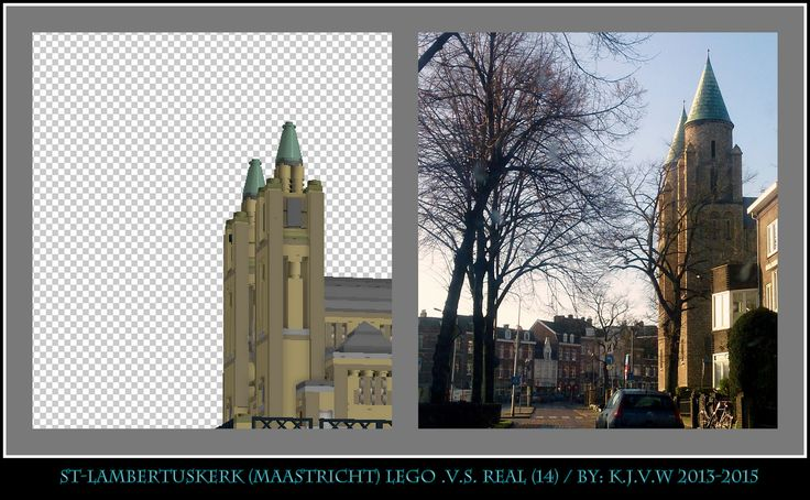 [ st-lambertuskerk  lego .v.s. real part 14 ]   10 of the 19 photo's from my collage of St-Lambertuskerk (Maastricht) ((Non-lego))