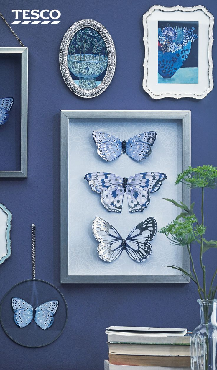 The 25 best tesco home ideas on pinterest tesco stores ltd complete a statement purple wall with a collage of silver frames and on trend butterfly amipublicfo Image collections