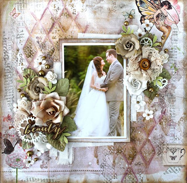 Layout By Cari Fennell Using The Butterfly Collection With Wood Icons Resist Canvas And Stencil Wedding Scrapbook LayoutsScrapbooking