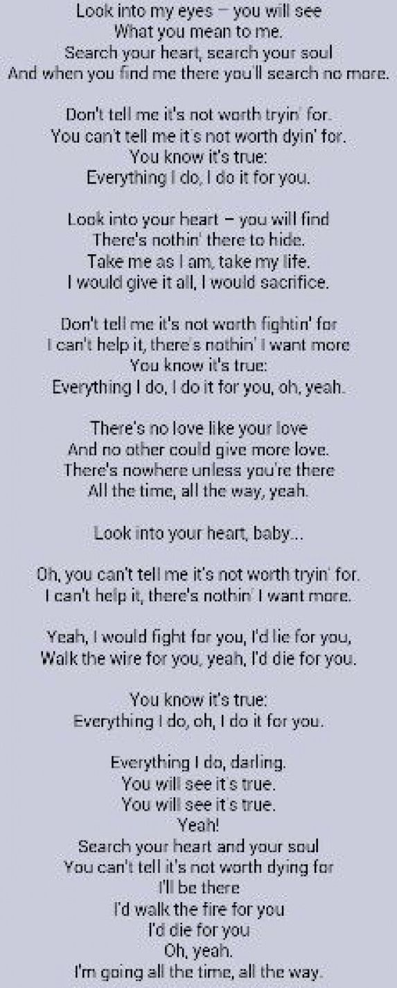 Bryan Adams Everything I Do I Do It For You Musicquotes Music Quotes Piano In 2020 Great Song Lyrics Love Songs Lyrics Music Lyrics