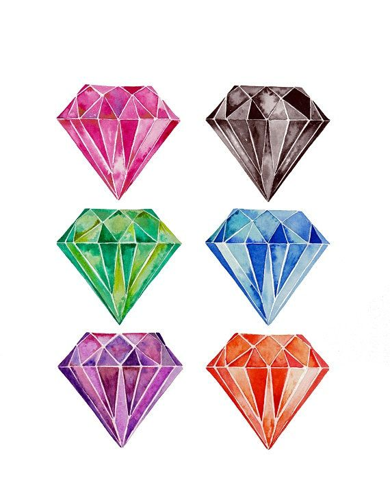 Diamond, watercolor, watercolor print, watercolours, watercolors paintings original, gems, diamond painting, watercolor gems, diamond art