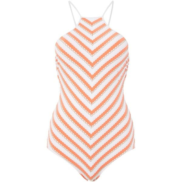 Seafolly Coast To Coast High Neck Maillot (115 CAD) ❤ liked on Polyvore featuring orange, women and seafolly