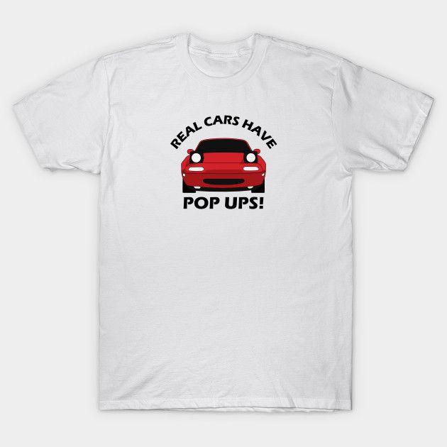 [Cars T-shirt] Mazda MX-5 / Miata NA Real Cars have pop ups red
