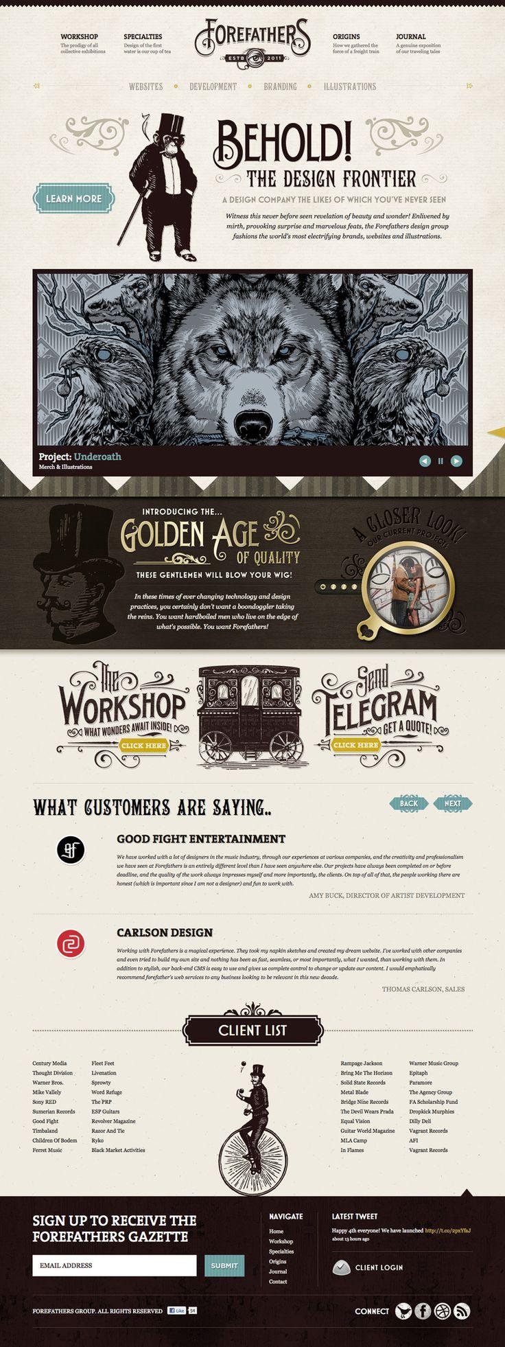 Unique Web Design, Forefathers #WebDesign #Design (http://www.pinterest.com/aldenchong/)