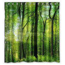 カスタマイズサンシャイングリーン林木デザイン風呂浴室カーテン防水生地のシャワーカーテン48 × 72、60 × 72、66 × 72インチ(China…