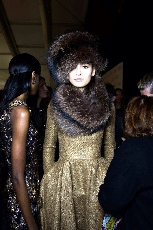 Backstage at Badgley Mischka Fall 2014-RTW
