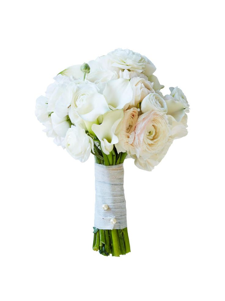 White ranunculus and calla lilies wedding bouquet