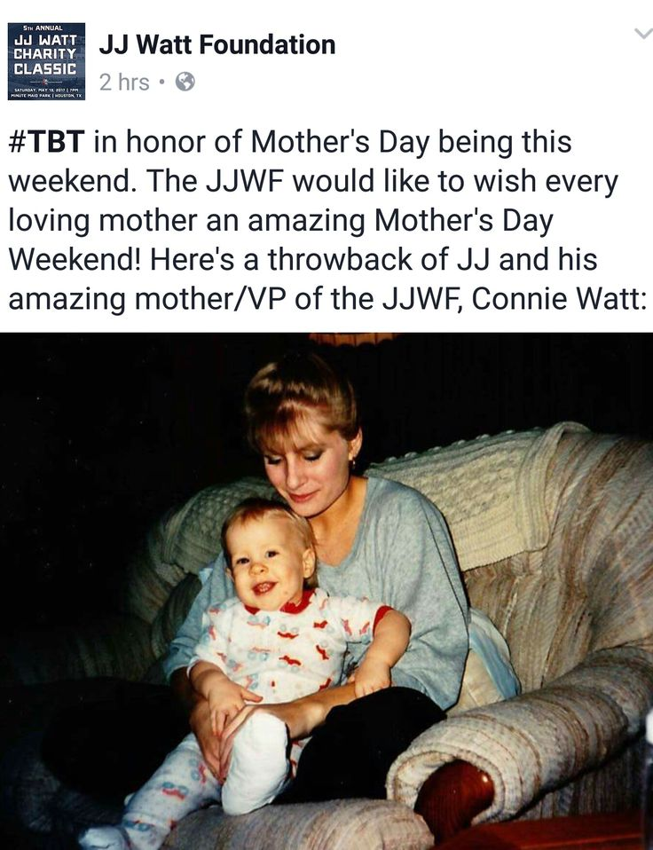 JJ Watt Foundation Facebook - 5.11.17 - TBT - Lil' JJ and his mama, Connie - #DreamBigWorkHard #HuntGreatness #JustAKidFromPewaukee #Justincredible
