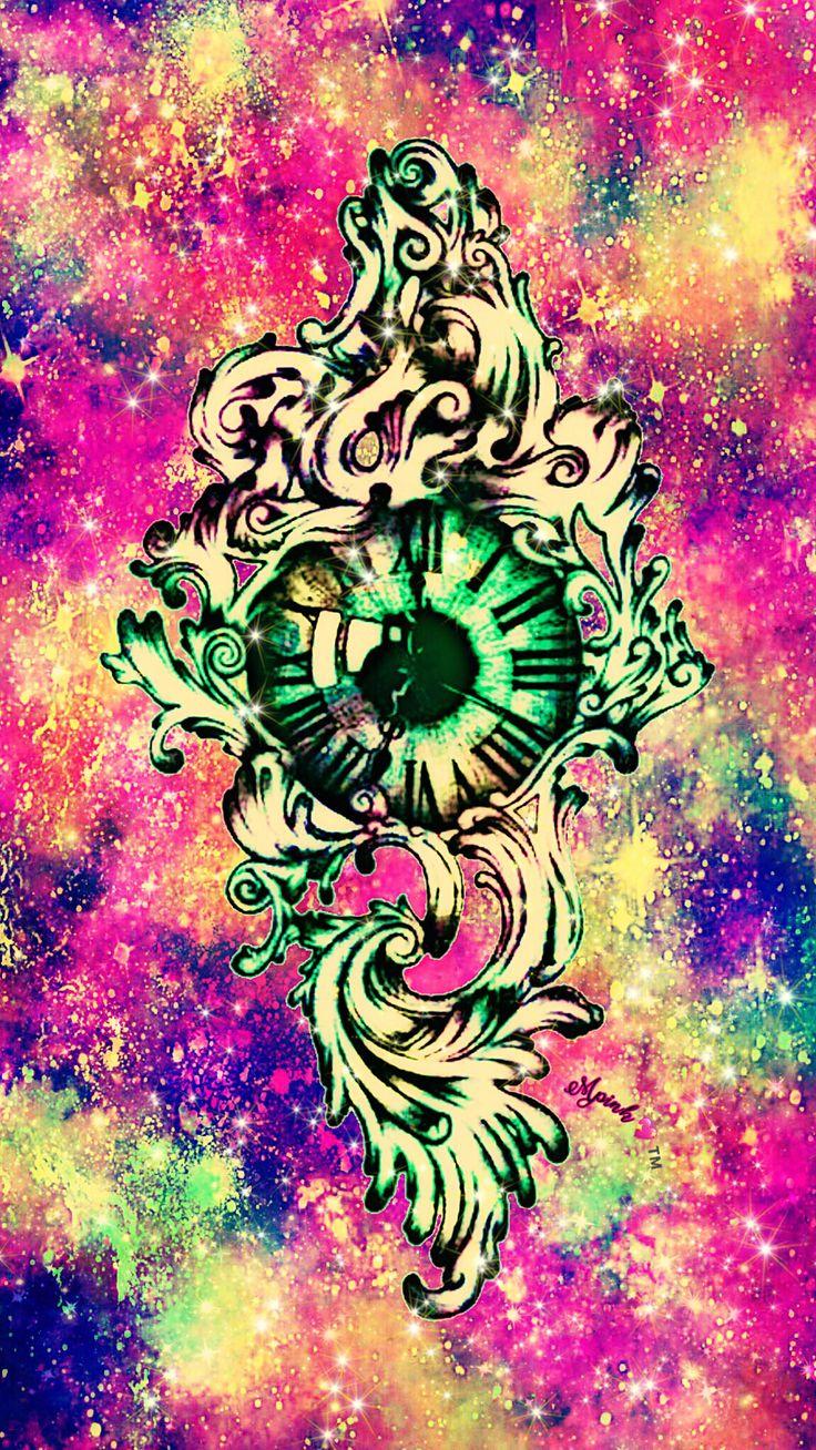 Vintage Galaxy Clock Wallpaper #androidwallpaper #iphonewallpaper #wallpaper #galaxy #sparkle #glitter #lockscreen #pretty #pink #cute #girly #vintage #clock #tattoo #drawing #art #sky #colorful