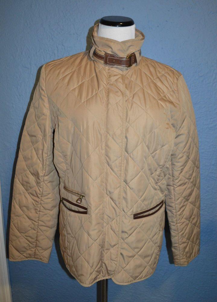 Cute Ralph Lauren dark tan quilted field/barn buckle-neck jacket in size Large #RalphLauren #BasicJacket