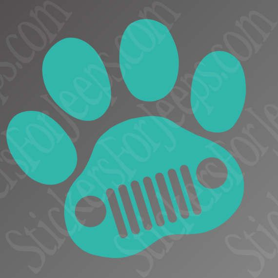 Jeep Dog Jeep Wave Paw Print - vinyl decal / sticker any color