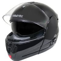 Hawk H-6607 Glossy Black Dual-Visor Modular Motorcycle Helmet with Bluetooth on LeatherUp.com!