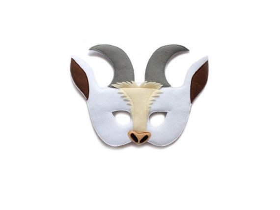 Handmade felt White Goat mask. A part of Farm animal Goat costume.  Mask is with attached elastic band and ready to wear. Just put it on and lets play!  Fits from toddler to adult. For adults, I make bigger eyes for the clear view. Please select kids or adults size!  Mask is made with 2-3 layers of felt. The outer side is from a solid felt and inner side is from a soft felt for comfortable use. The Mask is soft and pliable but very sturdy!  Color combinations can be changed to your…
