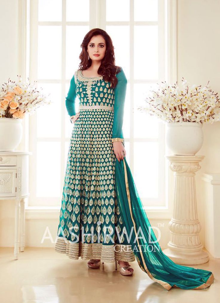 Glowing Green Georgette Party Wear Anarkali Suit