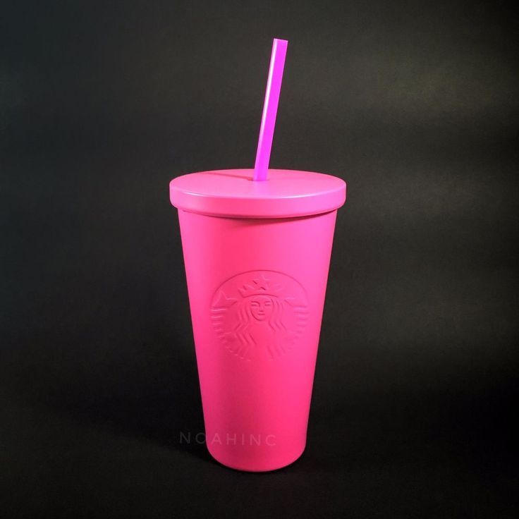 Rare Starbucks Double Wall Cold Cup Matte PINK Hot Neon Momoiro Straw 16oz HTF #StarbucksCoffeeCompany