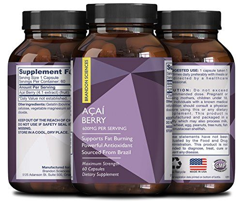 Pure Acai Berry Concentrate Capsules – Acai Berry Cleanse Weight Loss + Antioxidant Support + Energy + Immune System Booster - Health and Wellness Dietary Supplement For Women & Men