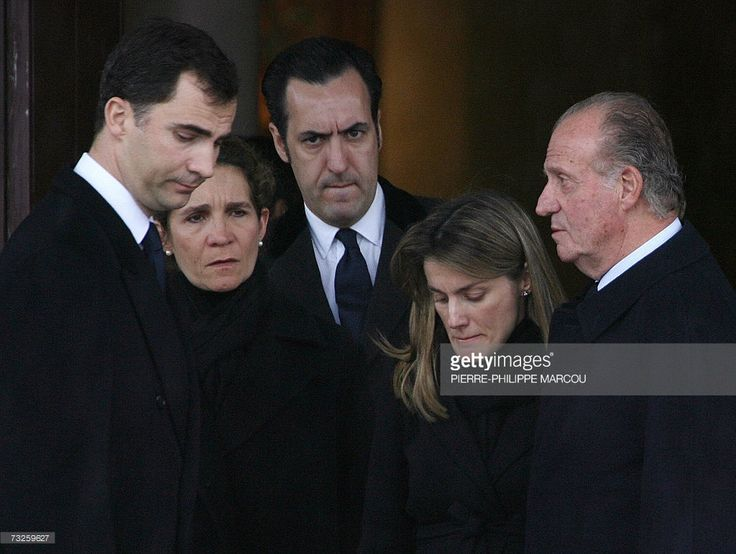 Members of the Spanish Royal family Prince Felipe, Princess Elena, her husband Jaime de Marichalar, Princess Letizia and King Juan Carlos leave the funeral of Erika Ortiz at the crematorium of Tres Cantos near Madrid, 08 February 2007. The cause of death of fine arts graduate Erika Ortiz, the younger sister of Princess Letizia was not immediately revealed.