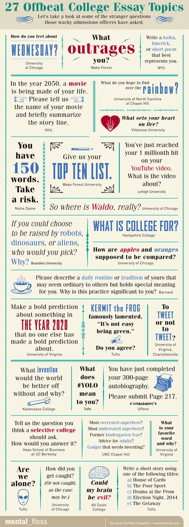 27 Offbeat College Essay Topics | Mental Floss