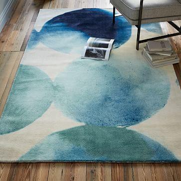 Watercolor Circles Rug - Seaglass Blue #westelm