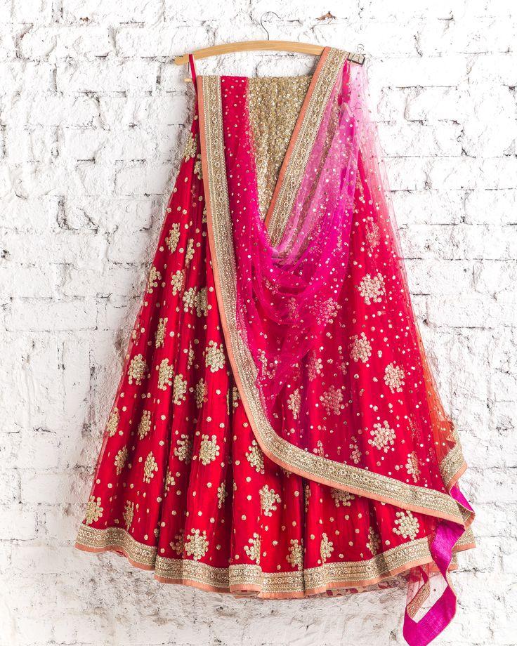 lehengas by SwatiManish : Kumkum red Lehenga with shocking pink and red dupatta