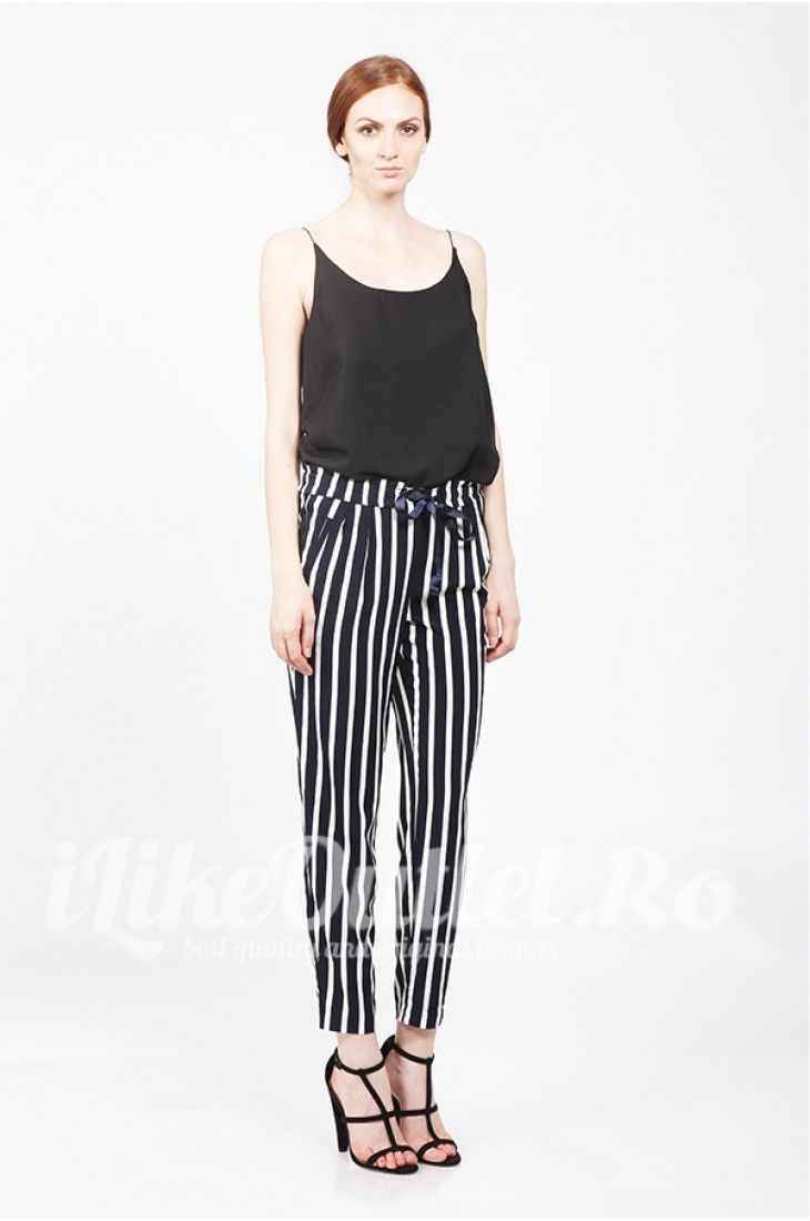 Black top, striped pants- ASOS