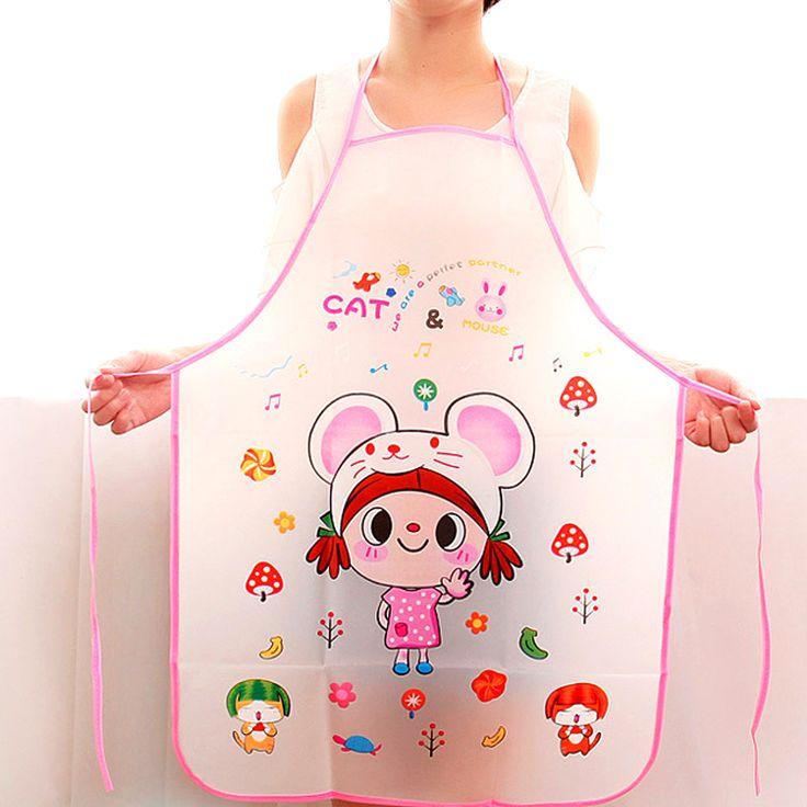 Cartoon Cute Waterproof Apron Long Sleeve Cuff PVC Apron Kitchen Cooking  Bib For Women